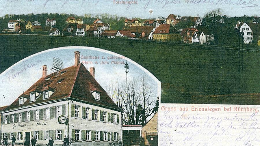 """Spätestens seit 1476 gab es in Erlenstegen eine Schenkstatt, den späteren """"Goldenen Stern"""". 1744 wurde der heute noch zu sehende behäbige Barockbau fertiggestellt. Die Postkarte stammt aus der Zeit um 1900."""