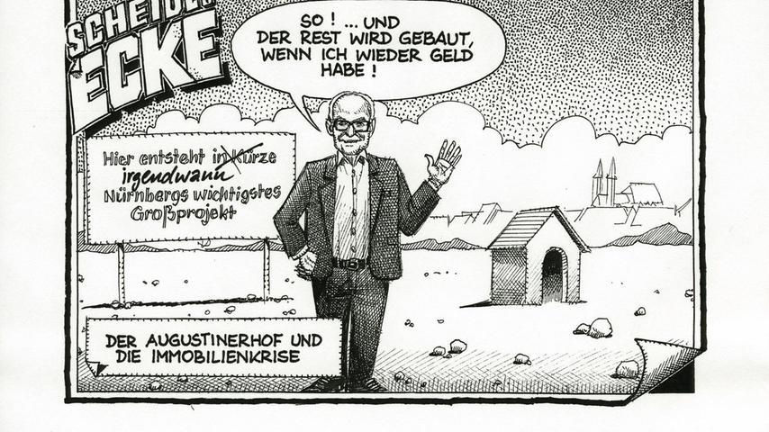Thomas Scheidl ahnte es in seiner Karikatur aus dem Dezember 2008: Auch heute, vier Jahre später, ist noch nicht viel passiert am Augustinerhof. Nicht einmal die abgebildete Hundehütte steht bisher. Und das, obwohl es in den vergangenen Jahrzehnten an Vorschlägen nicht gemangelt hat. Unsere Bildergalerie bietet einen kleinen Überblick über die Geschichte des Areals und die Ideen der letzten 25 Jahre, wie man es wieder mit Leben erfüllen könnte.