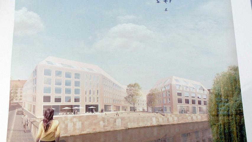 So sollte es am Augustinerhof-Areal nach dem Siegerentwurf eines Architektenwettbewerbs einmal aussehen. Die Pläne von Wettbewerbs-Sieger Volker Staab sollten dann 2011 umgesetzt werden. Ein einzelner Nachbar verweigerte seine Zustimmung, weshalb das Projekt einmal mehr stecken blieb.