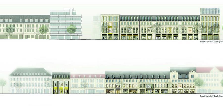 Die verschiedenen Bilder zeigen die Baukörper links und rechts der Rudolf-Breitscheidstraße sowie Ansichten von der Friedrichstraße und von der Hallstraße aus.