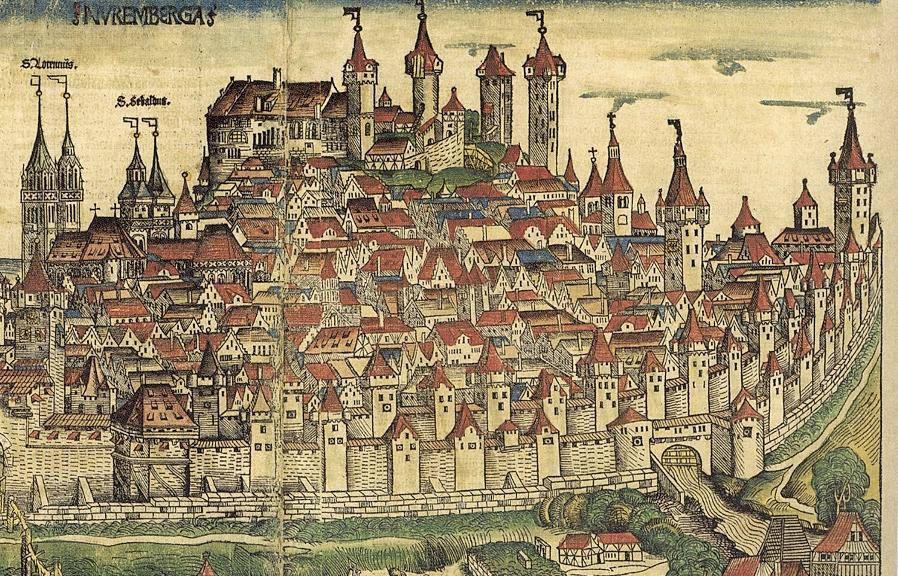 Nach ihrer Zerstörung 1449 wurde die Hadermühle (im Bild unten rechts) an gleicher Stelle wieder aufgebaut. Die Nürnberger Stadtansicht aus Hartmann Schedels Weltchronik entstand 1493, die Mühle war zu jener Zeit aber nicht mehr in Betrieb.
