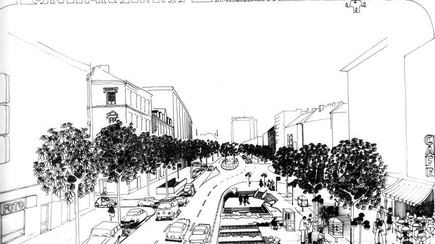 In den 70er Jahren fasste man eine Neugestaltung der Fürther Straße ins Auge. Geplant war