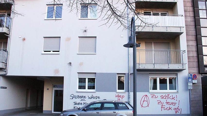Viele verwechseln Graffiti mit Schmierparolen an Hauswänden. Leider prägen sie das Image der Szene. Auf dieser Wand protestieren Nürnberger gegen Gentrifizierung in Gostenhof.
