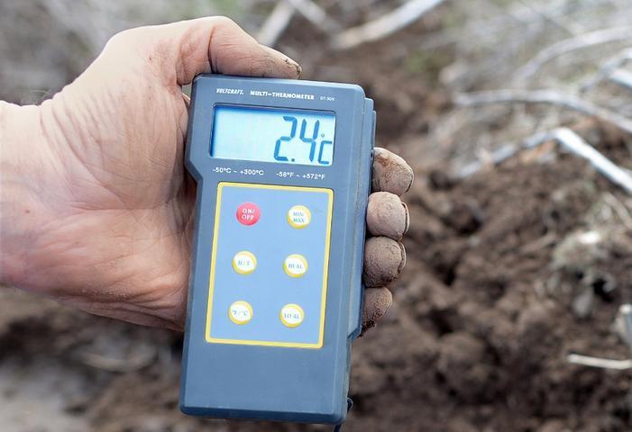Mit dem Thermometer ziehen die Spargelbauern auf ihre Äcker, um die Bodentemperatur zu messen. Erst wenn der Boden zirka 16 Grad warm ist, beginnt der Spargel zu sprießen. Ein jährliches Bangen für die Bauern - denn die Spargelsaison ist zeitlich eng eingegrenzt. Mancherorts hilft man dem Spargel mittlerweile mit einem beheiztem Boden beim Sprießen nach.
