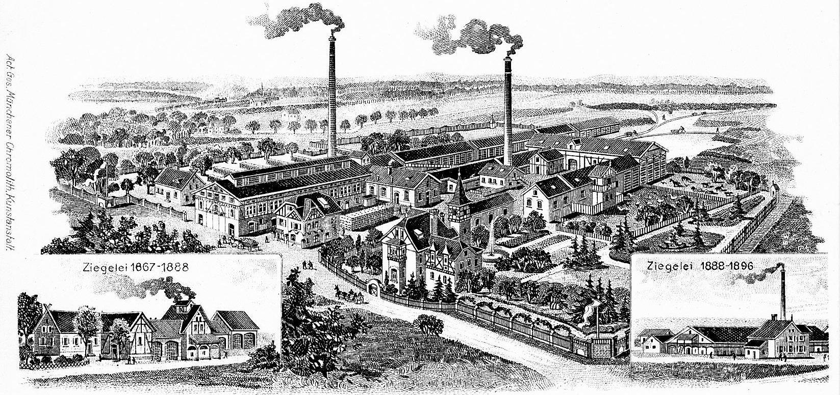 """Diese Postkarte um 1900 zeigt die Carl'sche Dampfziegelei. Deren Besitzer Johann Carl war zudem """"Baumeister"""" und prägte das Stadtbild wesentlich mit. Die Ziegelei in der Ziegelstraße arbeitete bis 1957. Erhalten ist nur die Villa."""