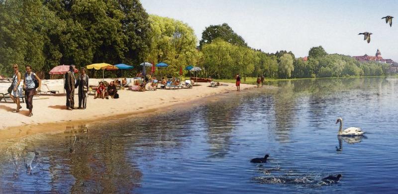 Schon in diesem Sommer soll am Nordufer des Wöhrder Sees ein neuer Sandstrand angelegt werden. Zuvor läuft bis Ende Juni das Ausbaggern von 50.000 Kubikmetern Schlamm am Südufer.
