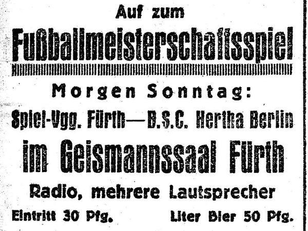 """""""Eintritt 30 Pfg., Liter Bier 50 Pfg."""": Mit dieser Anzeige im Fürther Tagblatt warb der Geismannsaal-Betreiber 1926 für sein """"Public Listening""""."""