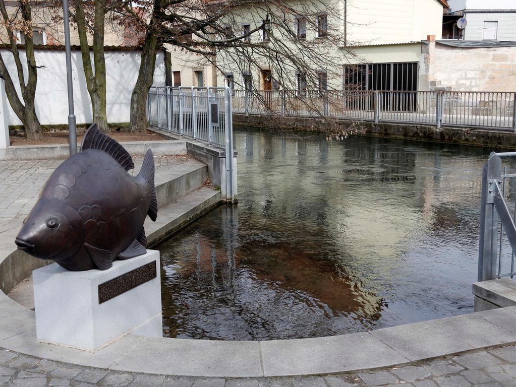 Der Karpfen wurd erst im Winter 2012 aufgestellt. Reinhard Eiber, akademischer  Bildhauer aus Feucht, hat den Platz tierisch gestaltet. Gestiftet wurde die  Bronze-Skulptur vom Heimatverein.