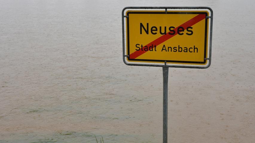 Land unter: Im Juni 2013 saß der Schock in Ansbach und Umgebung tief, als die Rezat über ihre Ufer trat und die Region überflutete.