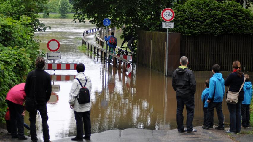 Die Fluten lockten mancherorts auch viele Schaulustige an, denen sich ein ungewöhnlicher Anblick bot. Weitere Bilder zur Flut in Stadt und Landkreis Fürth finden Sie in unserer Bildergalerie.