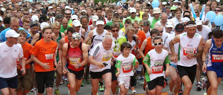 Sonne satt beim Marathon in Fürth