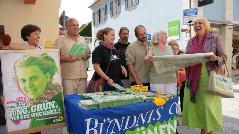 Die Bundesvorsitzende der Grünen war die prominenteste Wahlkämpferin auf dem Marktplatz.