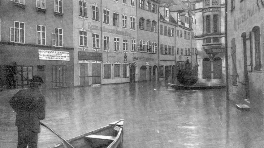 Die Nürnberger konnten sich hier nur noch mit Booten fortbewegen.