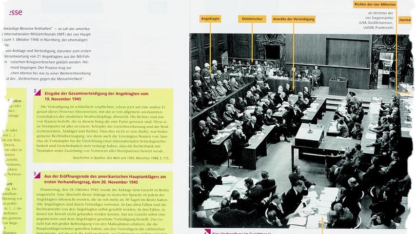 Die Nürnberger Prozesse dürfen in keinem Geschichtsbuch fehlen. Hier ein Auszug einer Doppelseite des deutsch-französischen Buches
