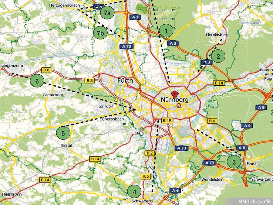 Sternförmig sollen die Radschnellwege aus allen Himmelsrichtungen nach Nürnberg führen.