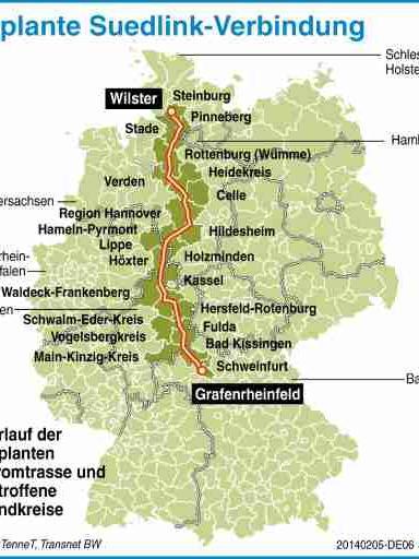 Es sind noch weitere Stromtrassen nach Bayern geplant. Die rund 800 Kilometer lange sogenannte Suedlink-Verbindung - von den Übertragungsnetzbetreibern TenneT TSO und TransnetBW - soll ab dem Jahr 2022 Windstrom von Schleswig-Holstein bis nach Bayern und Baden-Württemberg transportieren.