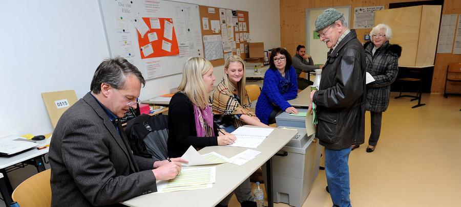 Wahllokal in Fürth.