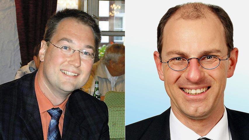 In Lauf an der Pegnitz konnte Norbert Maschler (CSU, links) den amtierenden Bürgermeister Benedikt Bisping (Grüne) in der Stichwahl nicht zu Fall bringen. Bisping bekam 56 Prozent der Stimmen.