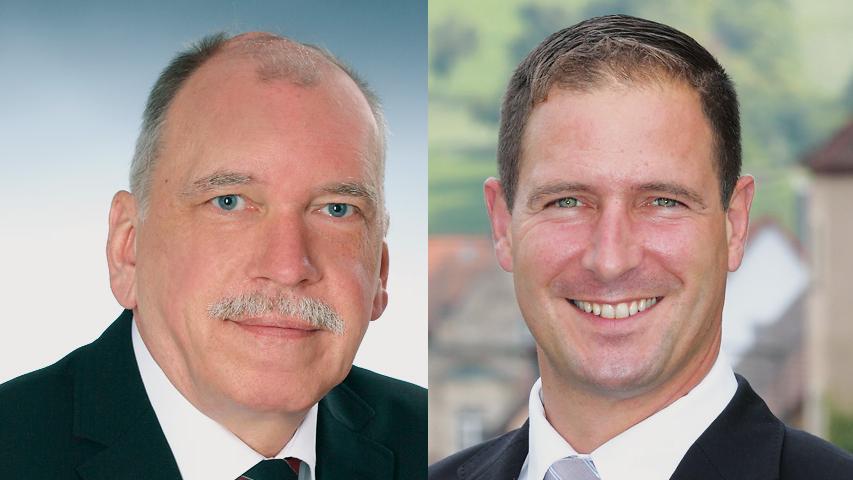 In Schnaittach  setzte sich Frank Pitterlein (CSU, rechts) mit 59 Prozent gegen Ulrich Weber (SPD) durch.