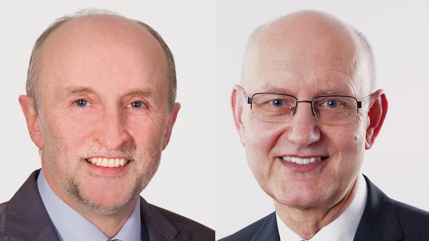 Bernhard Graf (links) konnte in der Stichwahl sein Bürgermeisteramt gegen Dietmar Feuerer verteidigen.
