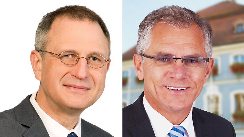 Gerhard Binder (FW, links) unterlag in Berching Bürgermeister Ludwig Eisenreich (CSU, 55 Prozent).