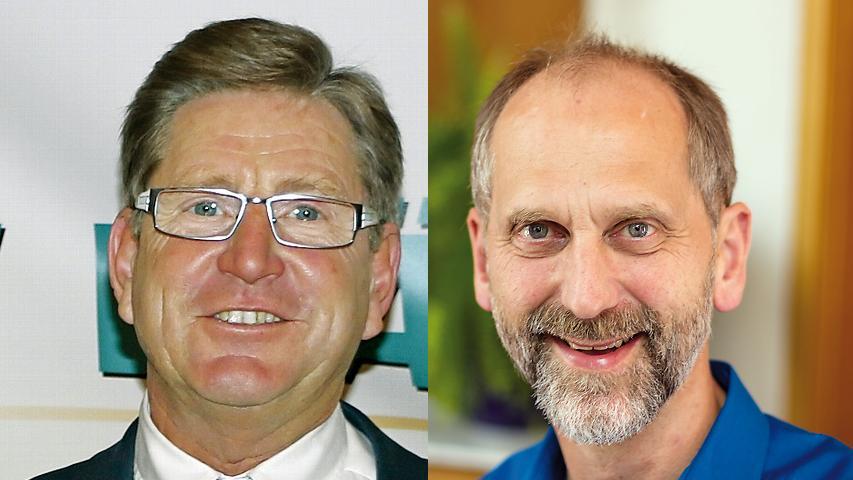 In Neunkirchenam Brand bestätigten die Wähler Bürgermeister Heinz Richter (FWG, links) mit 52,71 Prozent im Amt. Martin Mehl (CSU) hatte das Nachsehen.