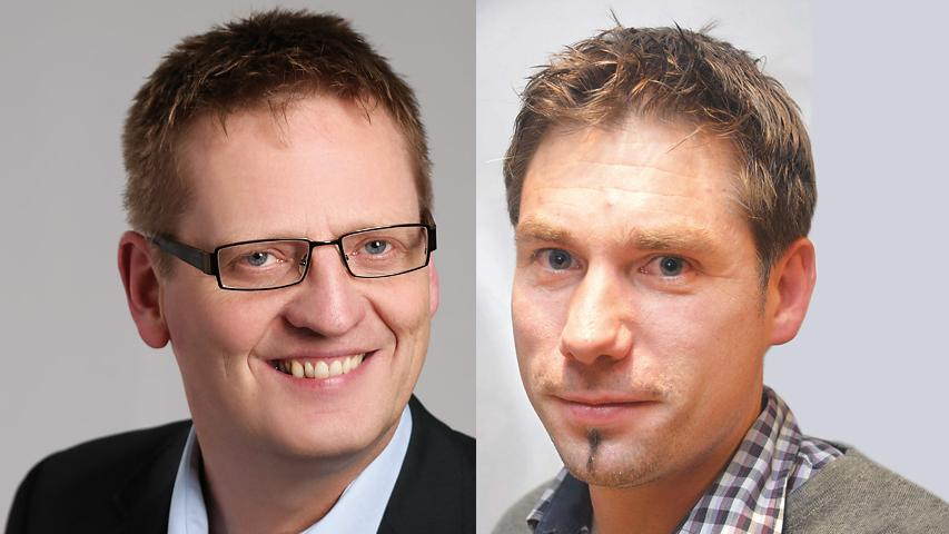 Torsten Gunselmann (rechts) gewinnt die Stichwahl zum Bürgermeister in Hallerndorfmit 62 Prozent der Stimmen gegen Kämmerer Christian Schmitt.