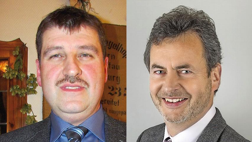 In Gräfenberg hat der SPD-Kandidat Hans-Jürgen Nekolla (rechts) das glücklichere Ende für sich. In der Stichwahl erhielt er mit 61.9 Prozent einen deutlichen Vorsprung vor Hans Derbfuß (CSU).