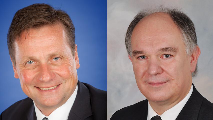 In Röthenbach an der Pegnitz haben sich über 70 Prozent der Wähler für den Kandidaten von Freien Wählern und Grünen, Klaus Hacker (rechts), entschieden. Favorit und Kämmerer Erwin Unfried (SPD) hatte das Nachsehen.