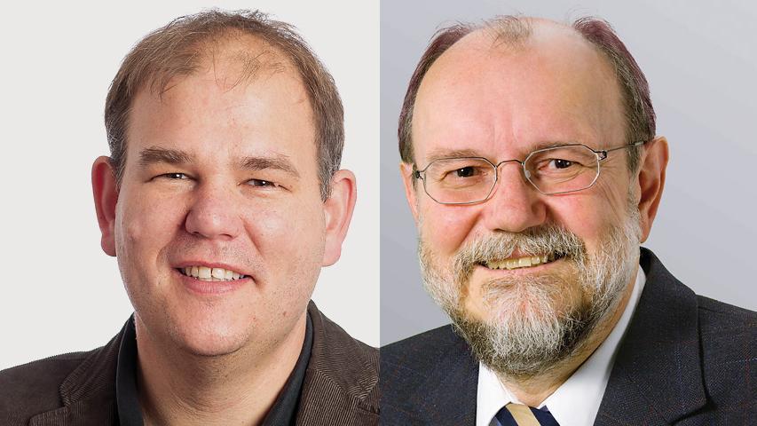 In Möhrendorf gewinnt Thomas Fischer (CSU, links) knapp mit 52 Prozent gegen Konrad Rudert (FW) .