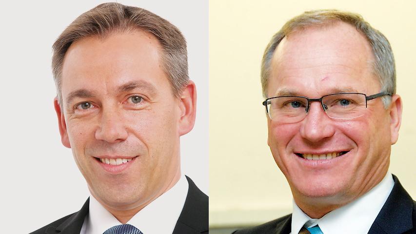 Alexander Tritthart (CSU, links) hat die Stichwahl um das Landratsamt Erlangen-Höchstadt gegen Martin Oberle (FW) knapp mit 53 Prozent für sich entschieden.