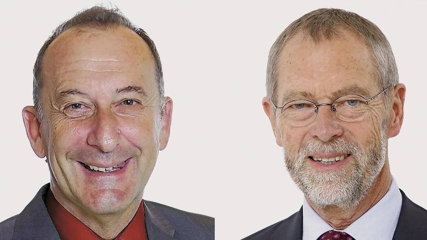 Knapp war es in Heroldsberg. Mit nur 51,3 Prozent gewann hier Johannes Schalwig (CSU, rechts) gegen SPD-Herausforderer Hubert Selzle.