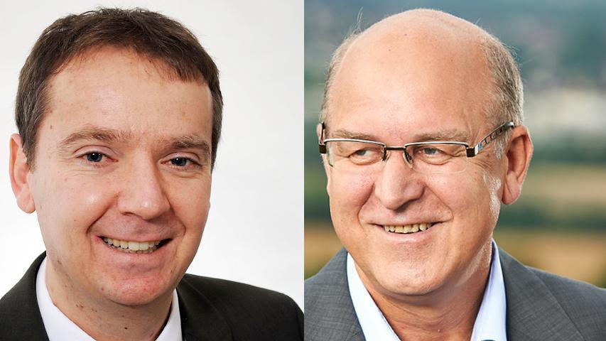 Knappes Ergebnis auch in Hirschaid: Klaus Homann (rechts) von der CSU gewinnt mit 52 Prozent der Stimmen gegen Georg Kestler (Freie Wähler).