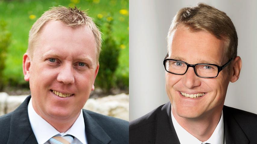 In Bubenreuth gewann CSU-Mann Norbert Stumpf (links) mit 60 Prozent gegen Wolfgang Seuberth von den Freien Wählern.