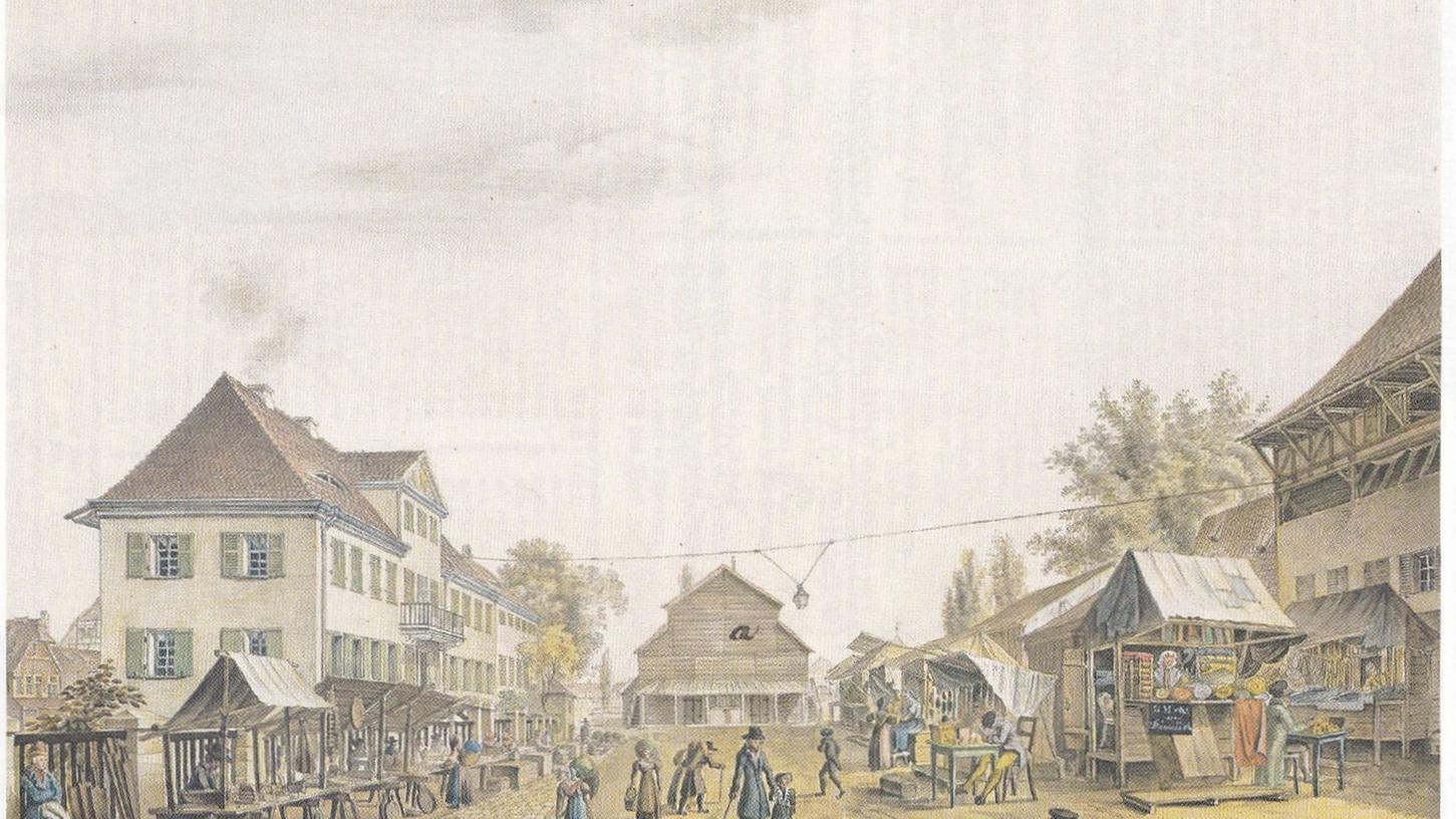 Auf der Insel Schütt stand von 1827 bis 1833 das Interims-Theater, hier in einem Aquarell von G.C. Wilder um 1828.