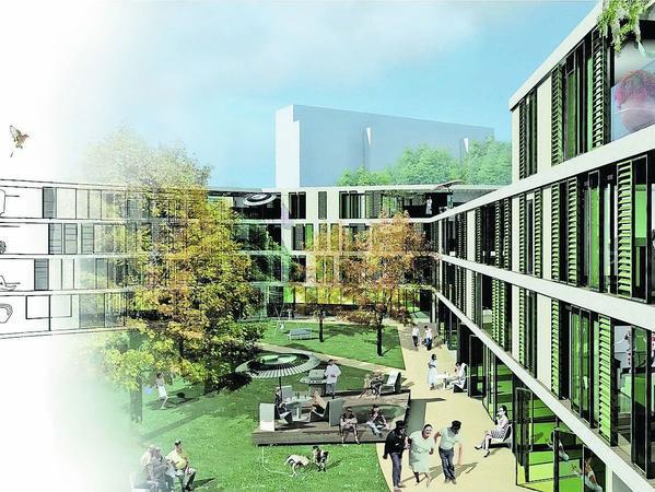 So könnte das neue Wohnquartier zwischen Pillenreuther Straße und Schillingstraße künftig aussehen. Der prämierte Plan stammt von einem Berliner Architektenbüro.Grafik: NN