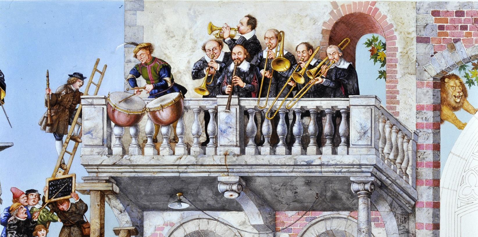 So hatte sich der Maler Michael Matthias Prechtl die moderne Ausmalung des Rathaussaals Ende der achtziger Jahre vorgestellt. Sie könnte nur in einer Dokumentation zu sehen sein.