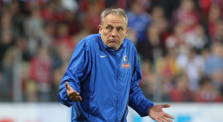 Unschuldmiene: Freiburgs Trainer Christian Streich hat sich - nach eigener Aussage - im Rückblick auf das Heimspiel gegen den 1. FC Nürnberg nichts vorzuwerfen.