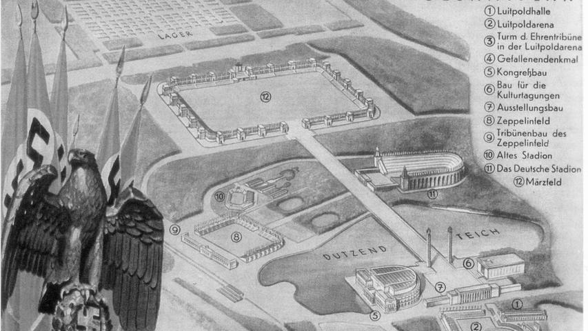 Großes hatte Adolf Hitler mit seinem Reichsparteitagsgelände (hier der Gesamtplan von Architekt Albert Speer, abgedruckt auf einer Postkarte um 1938) vor. Nicht alles aber konnte er in Nürnberg realisieren. Mit Kriegsbeginn stagnierten die Bauarbeiten nicht nur für das überdimensionierte Stadion, sondern auch...