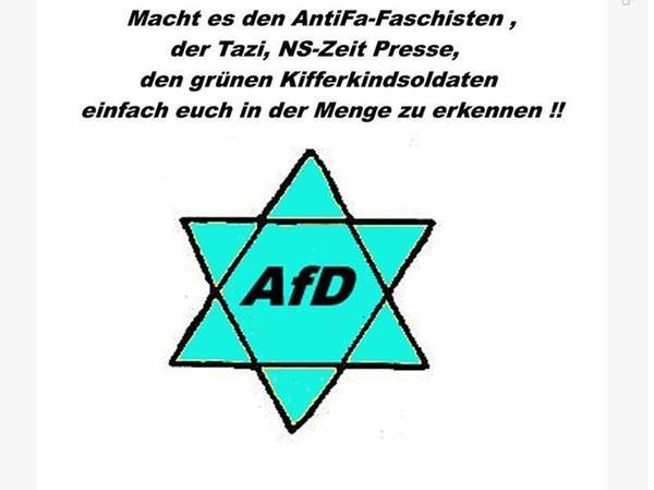 Die AfD-Politiker Bernd Jacks postete einen AfD-Stern, der überdeutlich an das Zwangserkennungsmerkmal für Juden aus der Nazizeit erinnert.