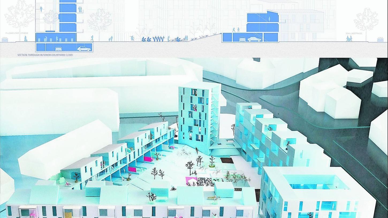 Eines der preisgekrönten Modelle für das Quartier an der Schillingstraße. Ob es realisiert wird, entscheidet sich im Sommer.Grafik: NN