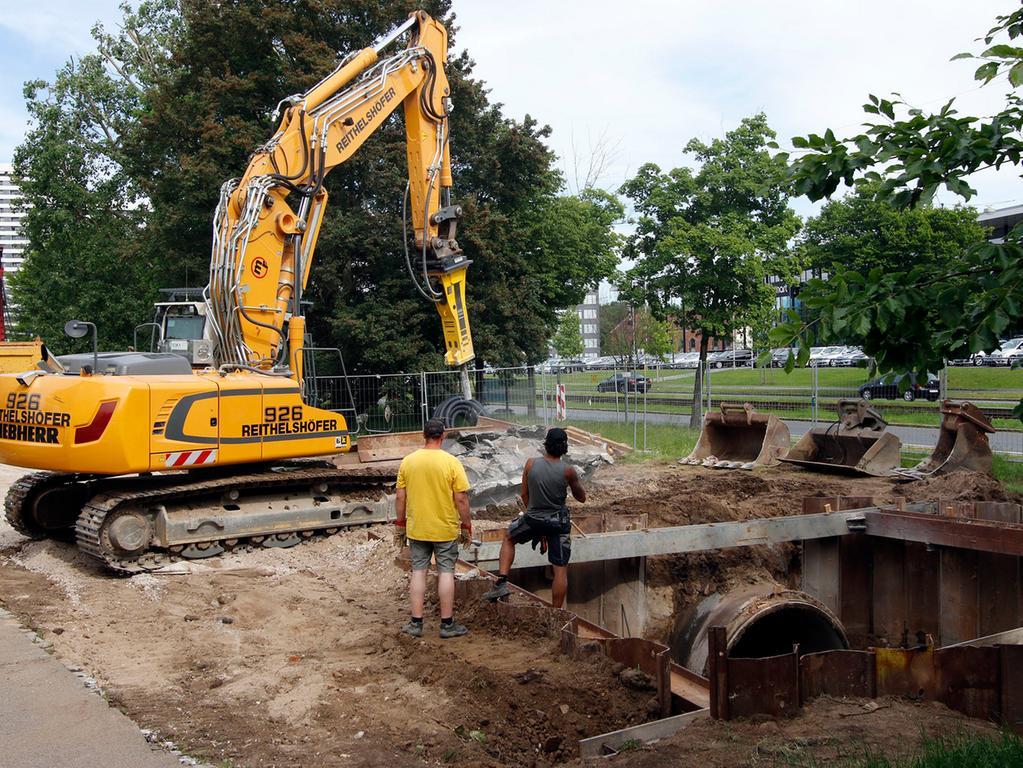 Anzeiger..Foto: Günter Distler..Motiv: roßbaustelle am Wöhrder See beim  Norikus: Ein neuer Bachlauf wird derzeit angelegt.
