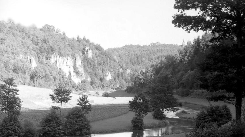 Historisches Foto, aufgenommen von Wilhelm Heinz ca. 1930 in der Fränkischen  Schweiz, digitalisiert von Max Legien  Oberes Wiesenttal