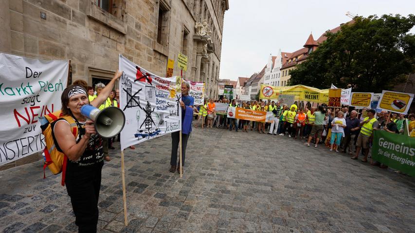 Auch vor dem Eingang zur Ehrenhalle am Nürnberger Rathaus machten unter anderem die Stromtrassengegner auf ihr Anliegen aufmerksam.
