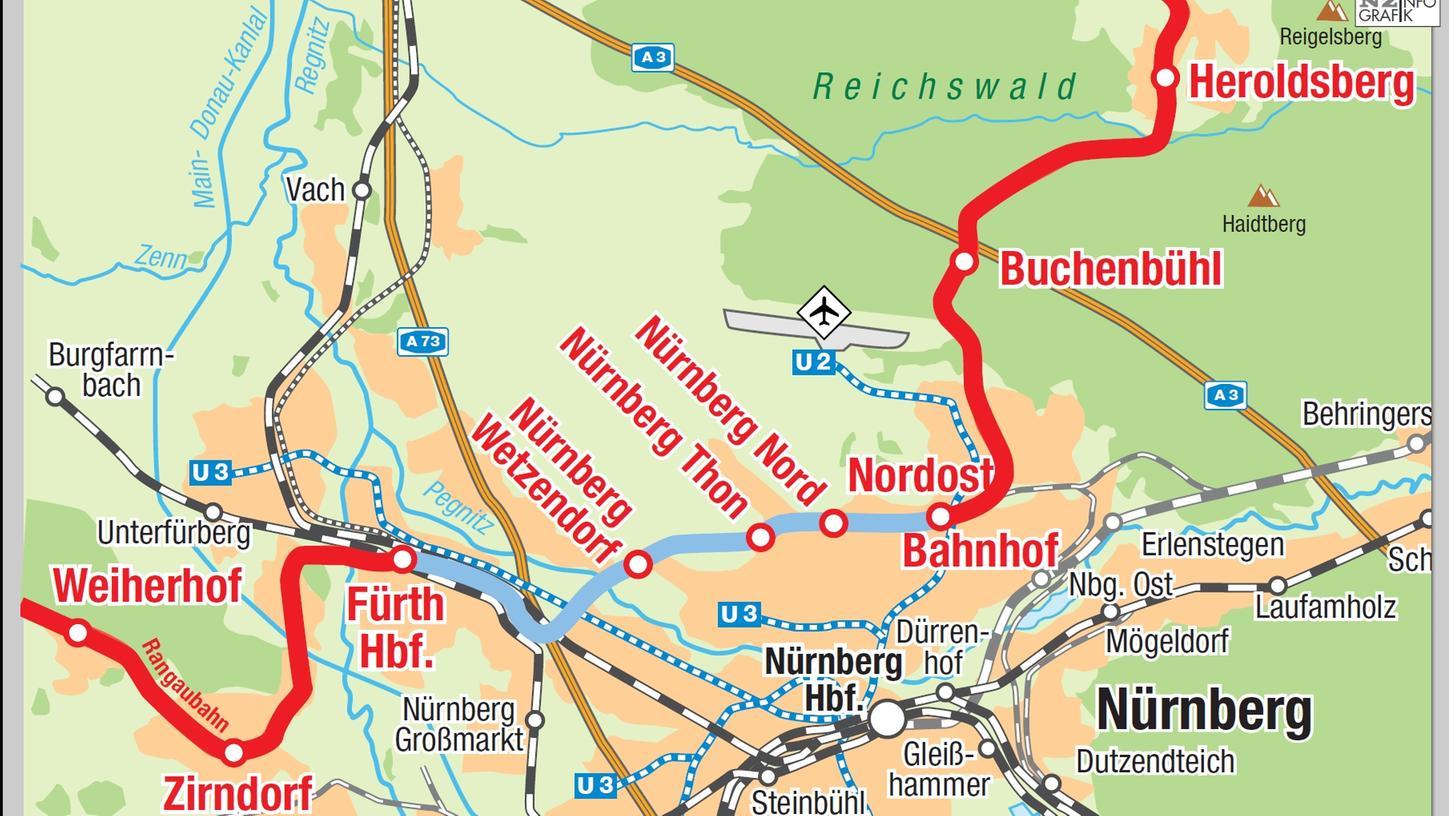 Die Gleisstrecke zwischen Nordostbahnhof und Fürther Hauptbahnhof (blau) würde die Rangau- mit der Gräfenbergbahn verbinden. Ein Gutachten kam aber zu dem Schluss, dass vor allem der Betrieb sehr teuer werden würde.