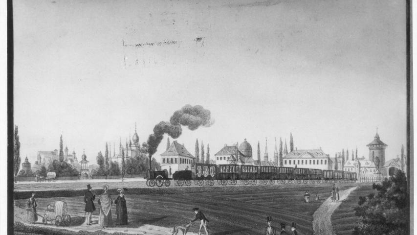 ...dem Einzug der Moderne. Hier zu sehen: Die erste Fahrt des Adler im Jahr 1835.