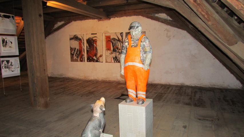 Ausstellungsrundgang im KunstRaum Weißenohe Eva Mandok  Foto: Rolf Riedel Datum: 05092014