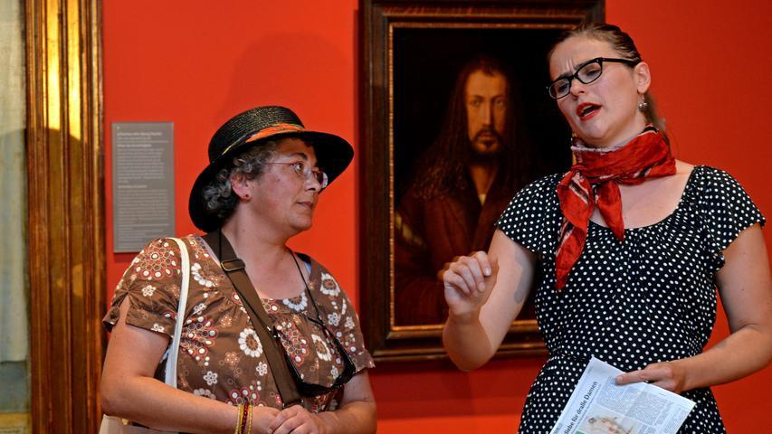 Soll heißen: Die Schauspieler führen Streitgespräche über Dürers Intentionen oder...