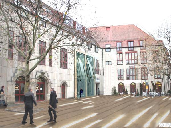 Pläne für das City-Center: Mit großzügigeren Eingängen, wie auf diesem Bild sichtbar, soll sich das Center nach außen öffnen.