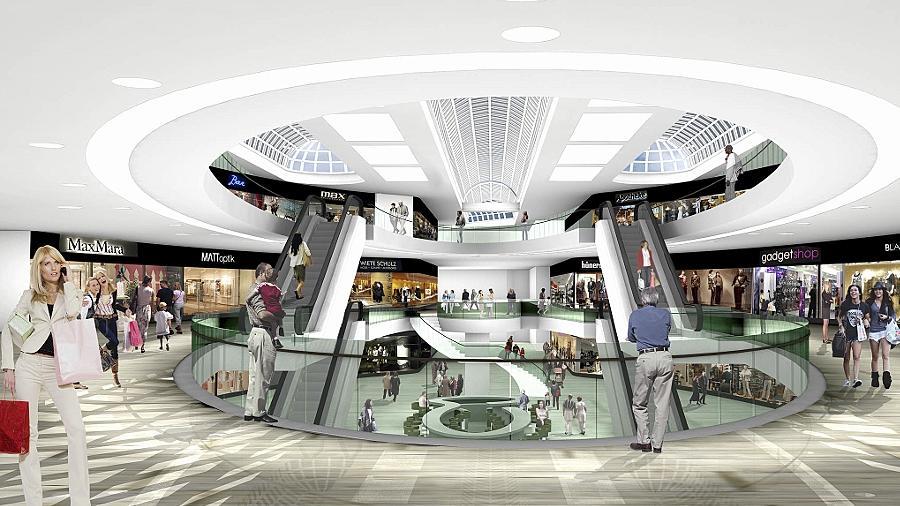 Schöne neue Einkaufswelt: So stellt sich der   Investor den  zentralen Bereich des City-Centers nach dem aufwendigen Umbau vor.Skizze: TKN